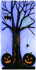 O8629 Solid Tree With Bat And Pumpkins