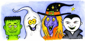O8635 Frankie, Ghost, Witch And Dracula Heads
