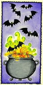 O8638 Bat And Cauldron In Deckle Square