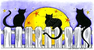 O8643 Three Cats With Moon And Stars