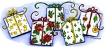 O8771 Christmas Present Border With Swirly Ribbon