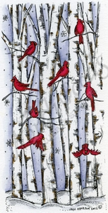 Cardinals On Birch Trees O8887