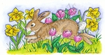 O8999 Hopping Bunny In Tulips