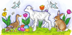 O9015 Lamb, Duck, Bunny And Birds In Tulips