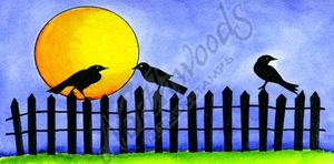 O9161 Crow, Fence And Moon Silhouette