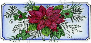 O9240 Poinsettia And Holly In Notched Rectangle