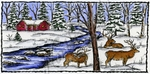 O9358 Elk And Stream In Deckled Frame