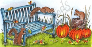 O9609 Nora's Squirrels On Bench