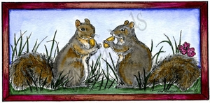 O9745 Squirrel Pair In Rectangle Frame