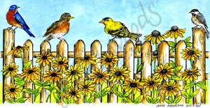 O9768 Picket Fence With Birds And Flowers