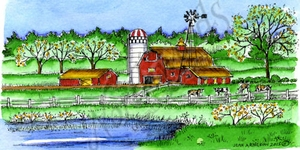 O9789 Barns And Cows With Windmill
