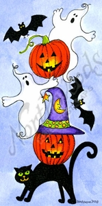 O9818 Stacking Halloween Cat, Jack, Ghost And Bats