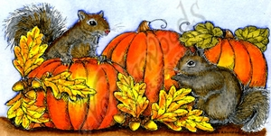 O9846 Squirrel Pair With Pumpkins And Leaves