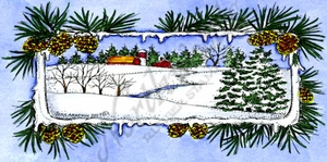 O9908 Winter Scene In Pine And Cone Rectangle