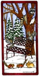 O9916 Winter Bench And Forest Friends In Rectangle Frame