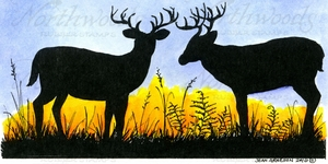 O9988 Silhouette Deer Pair In Grass