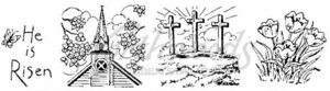 OO4067 He Is Risen With Church and Crosses Cube