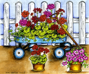 P10000 Geranium Wagon And Fence