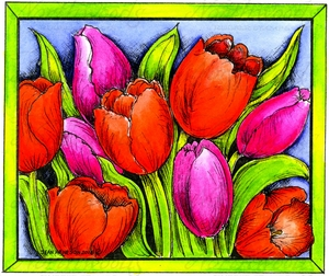 P10010 Tulips In Rectangle Frame