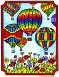 P10027 Hot Air Balloons In Notched Rectangle Frame