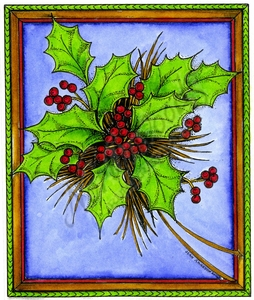 P10109 Holly Bunch In Fancy Frame