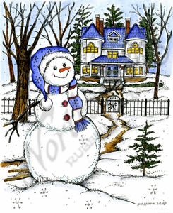 P10137 Winter Snowman And House Scene