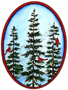 P10157 Three Pines With Cardinals In Oval Frame