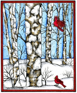 P10158 Birch Grove With Two Cardinals In Rectangle Frame