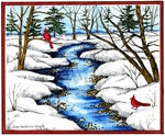 P10163 Snowy Stream Scene With Cardinal Pair In Rectangle Frame
