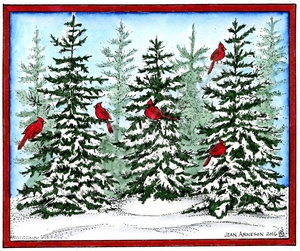 P10167 Snowy Spruce Trio With Cardinals In Rectangle Frame