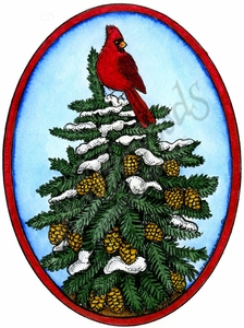 P10170 Snowy Spruce And Cones With Cardinal In Oval Frame