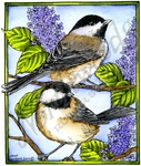 P10178 Chickadee Pair On Lilacs