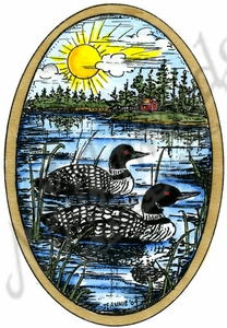P10213 Eva's Loon Pair In Oval Frame