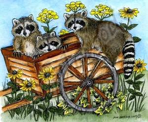 P10214 Elis' Raccoons On Cart