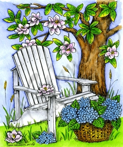 P10230 Adirondack Chair, Magnolia Tree And Hydrangea Basket