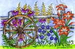 P10237 Spring Floral Wheel And Fence