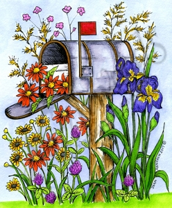 P10242 Spring Mailbox With Irises And Daisies