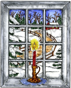 P10347 Candle In Winter Window Scene