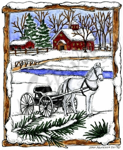 P10348 Horse And Buggy In Snowy Wood Frame
