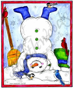 P10362 Snowman On Head With Birds In Rectangle Frame