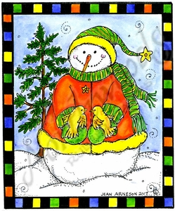 P10369 Snowman, Tree And Bird Pair In Checkered Rectangle Frame