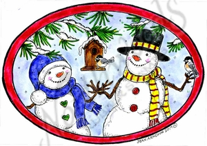P10375 Snowman Pair, Birdhouse And Chickadees In Oval Frame