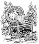 P1166 Wicker Chair With Flowers