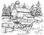 P1830 Winter Farm With Sleigh
