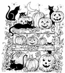 P2767 Pumpkins, Cats and Fence
