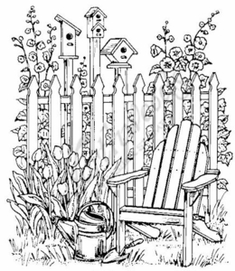 P3309 Chair, Fence and Birdhouses