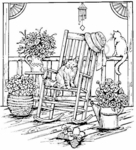 P3322 Cats and Rocker On Porch