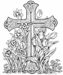 P3326 Easter Cross With Tulips and Daffodils
