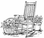 P3355 Rocking Chair With Plants