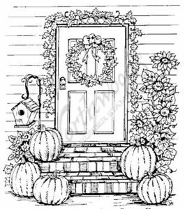 P3721 Pumpkin and Sunflower Door